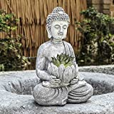Lotus Buddha Statues Outdoor - Resin Zen Buddha Figurines Plant Holder for Succulent, Summer Decorations for Patio Yard Lawn Porch, Ornament Gift Rustic Gray Finish