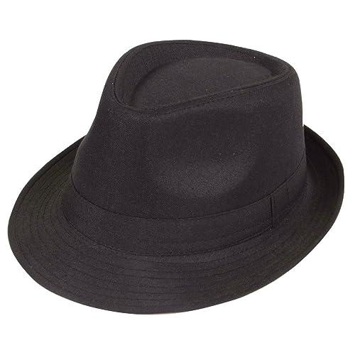 76041705 Black Twenties Film Noir Gangster Italian Mafia Fedora 20s Costume Hat  Accessory