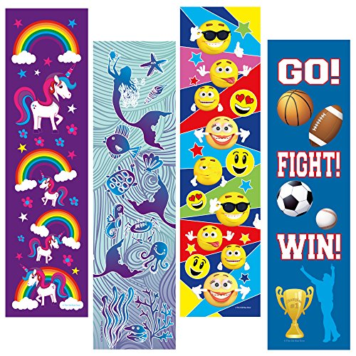 Kids Bookmarks Bulk Variety Pack - 48 Bookmarks Total (12 Mermaid, 12 Unicorn, 12 Emoticon, 12 Sports) - Birthday Party Favors - Student Prizes - Teacher Supply Packs - Reading Incentives