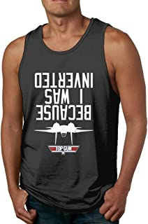 Qbbe Men's Because I Was Inverted Tank Tops Fitness T-Shirts