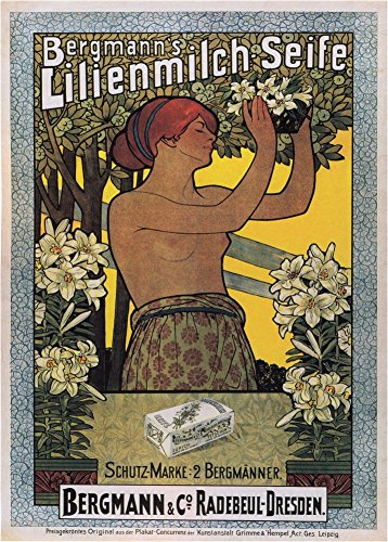 World of Art Global Vintage Friseurladen BERGMANN'S LILIEMILCH SEIFE, Leipzig, aus Deutschland im Jahr 1886. 250 g/m², glänzend, Kunstdruck, A3, Reproduktion