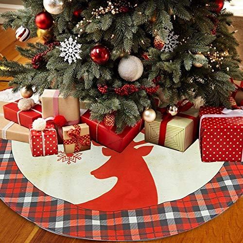 LYLYFAN Plaid Weihnachtsbaum Röcke 116cm Weihnachtsbaumdecke mit Rentier Weihnachtsbaumständerhüllen Baum Ornamente Dekoration für Weihnachten