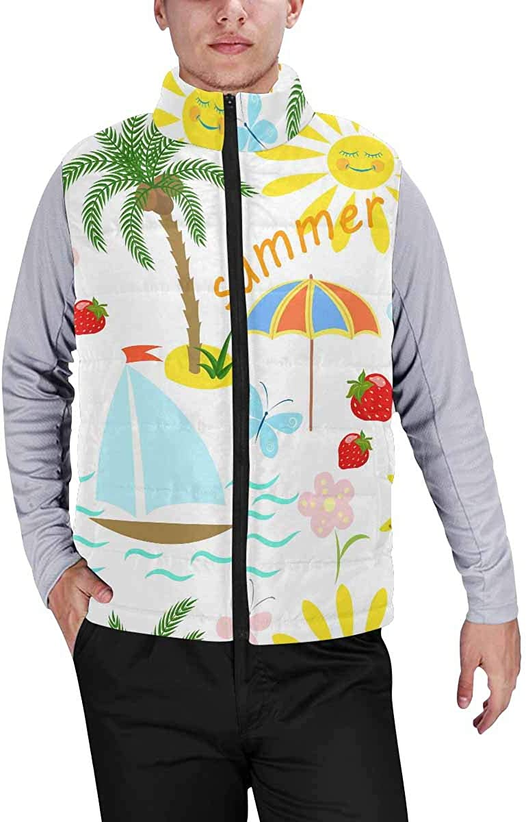 InterestPrint Men's Outdoor Casual Stand Collar Sleeveless Jacket Palm Tree with Umbrella