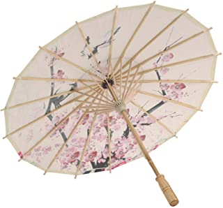 FILOL Mulitcolor Bamboo Classical Chinese Style Rainproof Umbrella, Floral Saa Paper and Bamboo Painted Paper Parasol, Cherry Blossom and Sparrow (Mulitcolor)