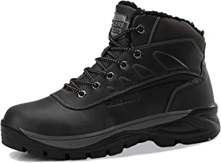 Mens Winter Snow Boots Hiking Boots Anti-Slip Leather...