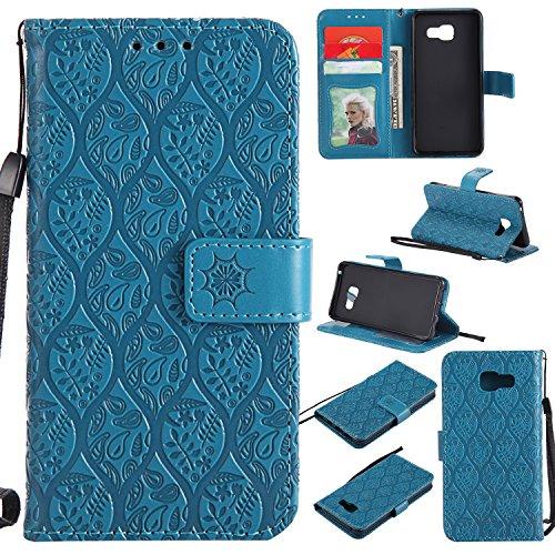 WindTeco Funda Samsung Galaxy A3 2016, Flor Patrón Carcasa Libro Shock-Absorción Cartera Billetera con Función de Soporte y Ranuras de Tarjeta para Samsung Galaxy A3 2016