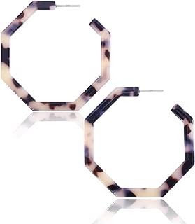 S925 Resin Acetate Tortoise Shell Hoop Drop Dangle Mottled Acrylic Earrings Fashion Jewelry for Women Girls