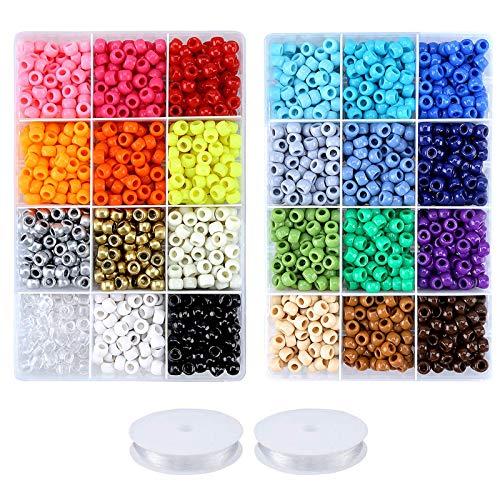 Greentime Pony Beads Jewelry Making Kit, 9mm Pony Beads Rainbow Opaque Beads...
