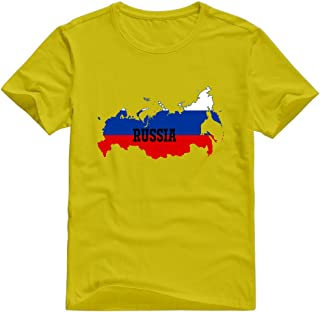 KST Men's Russia Flag Map 100% Cotton Crew Neck Funny Design T-Shirt