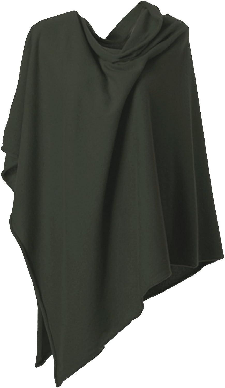 Anna Kristine Pure Cashmere Asymmetrical Draped Poncho  Loden Green
