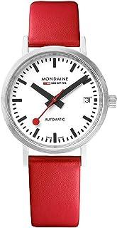 Mondaine - Classic - Reloj de Cuero Rojo para Hombre y Mujer, A128.30008.16SBC, 33 MM