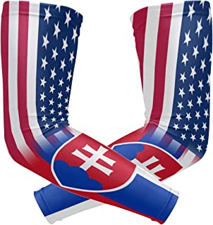 Y-RED-AA USA Slovakia Flag Cooling Arm Sleeves Cover Uv Sun Protection for Men Women Running Golf Cycling Arm Warmer Sleeves 1 Pair