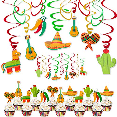 Fiesta Party Decorations - 42Pcs No Assembly Required Fiesta Cupcake Toppers & Swirls Hanging Decorations for Fiesta Party Mexican Party Taco Party