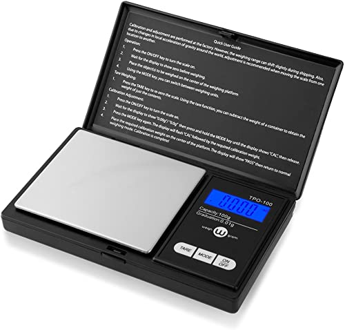 (TOP-100) - Weigh Gramme Scale Digital Pocket Scale,100g by 0.01g,Digital Grammes Scale, Food Scale, Jewellery Scale ...