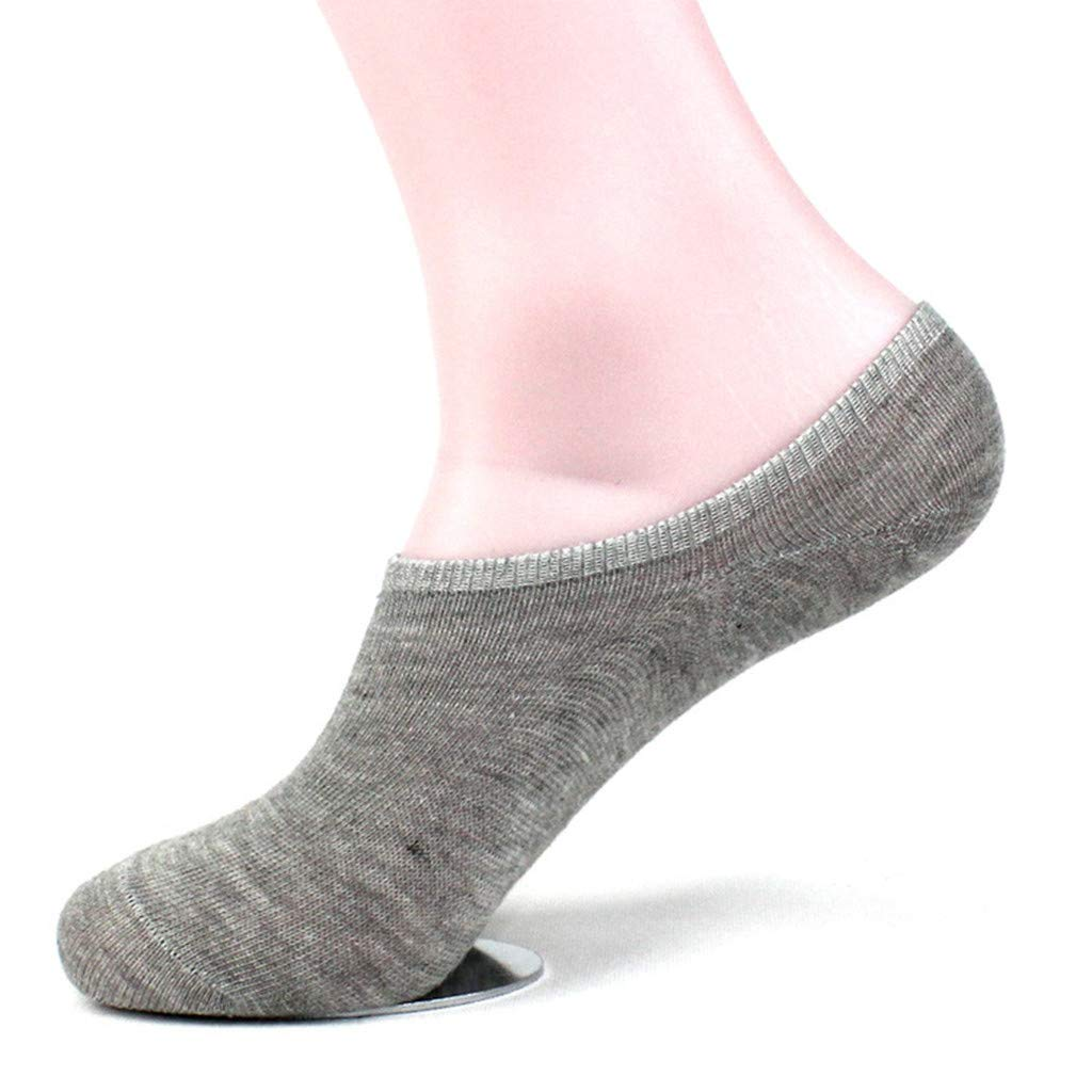 Atezch No Show Socks, 1Pair Unisex Pure Color Comfortable Loafer Socks Non-Slip Short Stockings Invisible Socks (Gray)