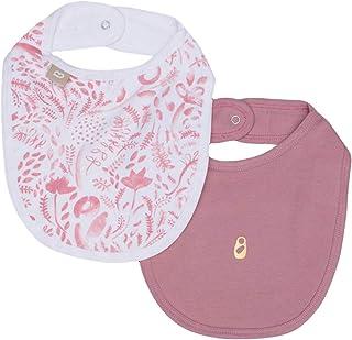 Babyushka Organic AOP and Solid Bibs 2 Pack, Pink, 2 Count