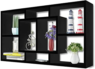 thebestshop99 Wall Mounted Cube 8 Pigeon Holes Display Shelf Storage Decor Unit Moderen Display Shelving Rack Room Home Black