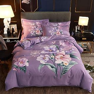 yaonuli Algodón Puro, Espesamiento ecológico Activo, Lijado, algodón de Cuatro Piezas cálido sobre - púrpura, Cama de 2.0 m = 220 * 240 cm