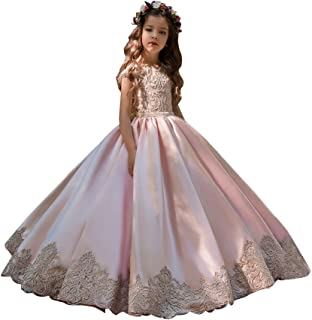 First Communion Flower Girls Lace Dresses Long Ball Gown