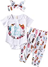 ASTRILL Newborn Baby Girl 3pcs Outfits Short Sleeve Bodysuit Feather Pant with Headband