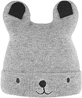 Baby Knitted Hat Winter Baby Warm Bear Cartoon Hat Children's Wool Cap Warm Soft Knit Bear Hat Baby's Wool Cap-Black-1 Size