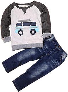Bekleidungssets jungen winter Allence Babykleidung Set, Neugeborenes Baby Mädchen Jungen Cartoon Auto Langarm T-Shirt Tops  Jeans Denim Hosen 2 Stück Kleidung Set