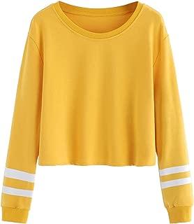 Women's Striped Long Sleeve Crewneck Crop Top Sweatshirt
