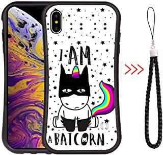 iPhone Xs Max Slim Waist Curved Phone Case Black Luxury Shape Design Cover Cute Background Unicorn Wallpaper Light Phone Shell Shockproof Protector Upgrade