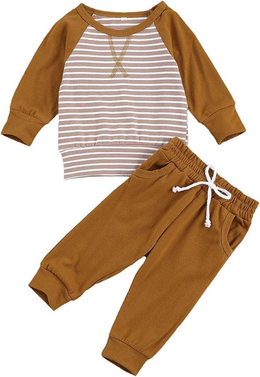 Lamuusaa Baby Girls Boys Clothes Long Sleeve Top Sweatshirt Solid Color Long Pants Pajamas Unisex 2Pcs Fall Winter Outfits