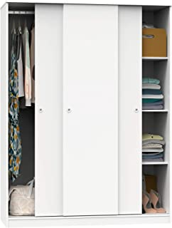 Armario vestidor ropero 3 Puertas habitación Matrimonio Juvenil Dormitorio Tibet Blanco 200x150x55 cm