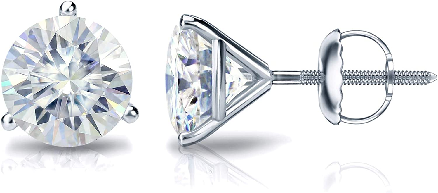 1 to 7 Carat Moissanite Super intense SALE Max 49% OFF Round Stud Women Gol 14k Earrings in for