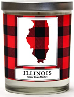 Illinois Buffalo Plaid Scented Soy Candle | Fraser Fir, Pine Needle, Cedarwood | 10 Oz. Glass Jar Candle | Made in The USA | Decorative Candles | Going Away Gifts for Friends | State Candles