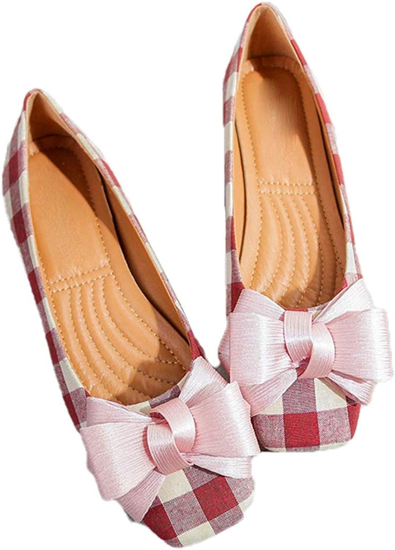 Kyle Walsh Pa Women Ballet Flats shoes Bowknot Plaid Square Toe Ladies Casual Soft Moccasins