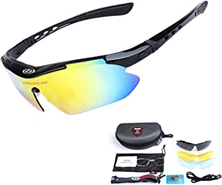 Unisex Polarized Sports Sunglasses with 5 Interchangeable Lenses Driving Glasses for Cycling Fishing Hiking Golf