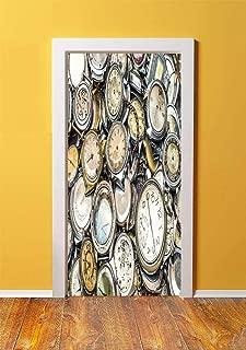 Clock Decor 3D Door Sticker Wall Decals Mural Wallpaper,Antique Theme A Pile of Several Vintage Clocks Retro Pattern Decorative Design,DIY Art Home Decor Poster Decoration 30.3x78.6027,Gold Beige