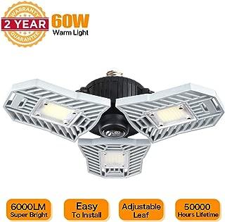 LED Garage Lights, 3000K Warm White Tribright Led Adjustable Light 6000 Lumens 60W Deformable Lamp, CRI 80+ LED Shop Lights for Garage(Warm Light,Not Motion Activated)