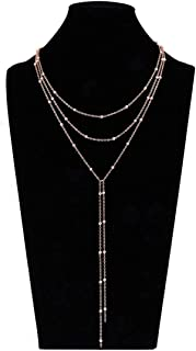 Layer Choker Long Chain Tassel Pendant Necklace for Women Girls Handmade Bead Station y Necklace Charm Chain Jewelry Necklace