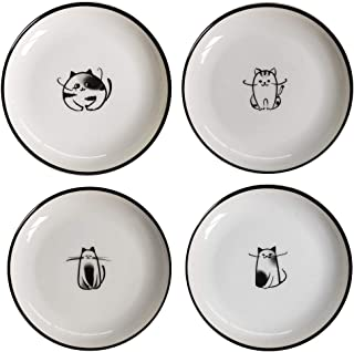 Cat Ceramic Side Sauce Dishes Seasoning Dish, Sushi Soy Dipping dish,Cookie Serving Dishes,Meow Porcelain Small Tea Bag Holder Set of 4