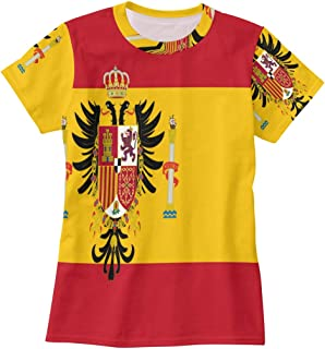Bei Tang Spanish Flag T Shirts for Women Top Tee Crew Neck Casual T-Shirt