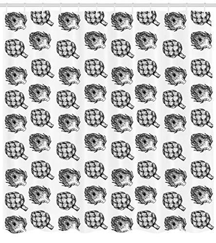 123456789 Cortina de Ducha de alcachofa Hortalizas de Granja Impresión de Alimentos para el baño