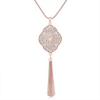 MOLOCH Long Necklaces for Woman Disk Circle Pendant Necklaces Tassel Fringe Necklace Set Statement Pendant