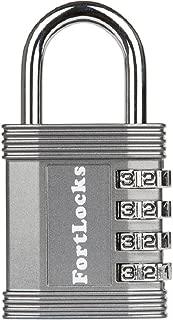 FortLocks Padlock - 4 Digit Combination Lock for Gym Outdoor & School Locker, Fence, Case & Shed – Heavy Duty Resettable Set Your Own Combo – Waterproof & Weatherproof (Silver, 1 Pack)