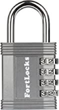 FortLocks Padlock - 4 Digit Combination Lock for Gym Outdoor & School Locker, Fence, Case & Shed - Heavy Duty Resettable S...