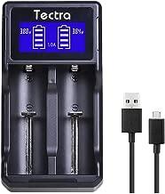 Tectra Smart Speedy LCD Universal Dual USB Battery Charger for Li-ion 18650 22650 26650 18490 18350 17670 17500 16340(RCR123) 10440 14500/ Ni-MH Ni-Cd AA AAA AAAA C Rechargeable Batteries