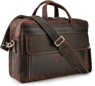 Lannsyne Herren Echtleder 17 Zoll Laptop Tasche Aktentasche Schultertasche Umhängetasche