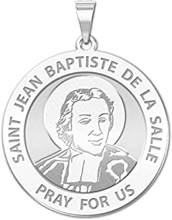 PicturesOnGold.com Saint Jean-Baptiste De La Salle Religious Medal - 2/3 Inch Size of Dime, Sterling Silver