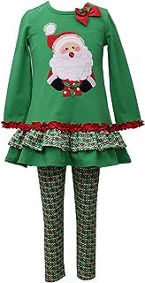 Bonnie Jean Girls Christmas Holiday Santa Applique Legging Set