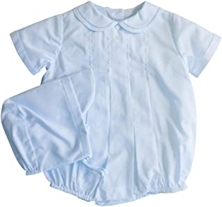 Petit Ami Baby Boys` Romper with Pleats and Feather Stitching, Blue