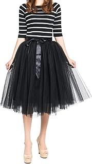 Women's Summer Fairy Knee Length Tulle Skirt Pleated Wedding Bridesmaid Sister Tutu Costume