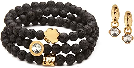 SEA Smadar Beautifully Designed Black Lava Stones, Swarovski Crystals And 24k Gold Plated Elements Stretch Bracelet With Matching Earrings